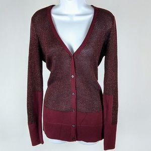 Simply Vera Vera Wang maroon cardigan size large